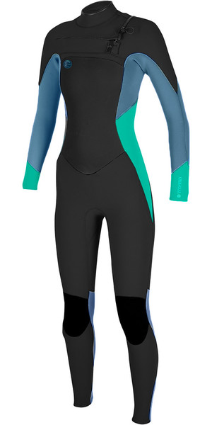 2018 O'Neill Womens O'Riginal 4 / 3mm Bryst Zip Wetsuit BLACK / SEAGLASS / BLUE 5015
