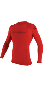 2020 O'Neill Mens Basic Skins Long Sleeve Crew Rash Vest 3342 - Red