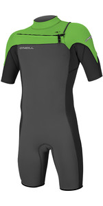 2019 O'Neill Mens Hammer 2mm Chest Zip Spring Shorty Wetsuit Graphite / Black / Day Glo 4927