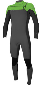 2019 O'Neill Mannen Hammer 3/2mm Chest Zip Wetsuit Graphite / Zwart / Dag Glo 4926