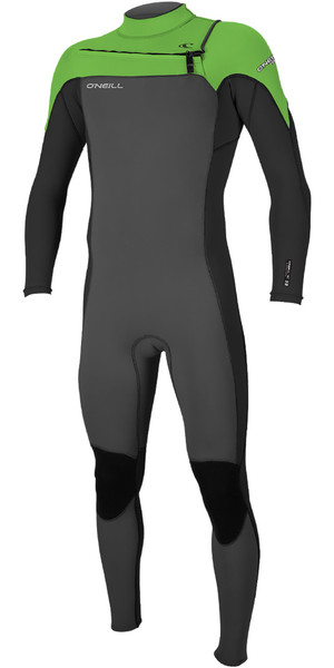2019 O'Neill Mens Hammer 3/2mm Chest Zip Wetsuit Grahpite / Black / Day Glo 4926
