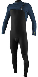 2020 O'Neill Mens HyperFreak+ 4/3mm Chest Zip Wetsuit 5344 - Black / Abyss