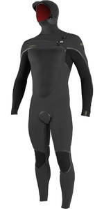2019 O'Nill Psycho Tech 6 / 4mm Wetsuit Met Chest Zip Capuchon Raven / Zwart 5366
