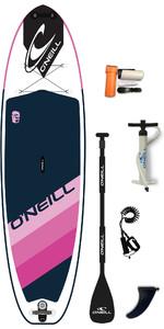 """2020 O'neill Santa Fade 10'2 X 33 """"oppusteligt Sup Board , Padle, Taske Og Snor - Pink"""