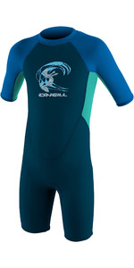 2019 O'neill Criança Reactor 2mm Back Zip Shorty Wetsuit Ardósia / Aqua / Oceano 4867