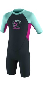 2021 O'Neill Toddler Reactor 2mm Back Zip Shorty Wetsuit 4867 - Slate / Berry / Seaglass