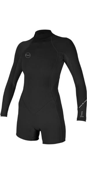 2019 O'Neill Bahama's 2 / 1mm Back Zip wetsuit met lange mouwen en korte mouwen zwart 5291