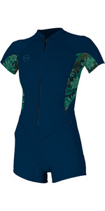 2019 O'Neill Womens Bahia 2 / 1mm Front Zip Shorty Wetsuit Abyss / Faro 5293