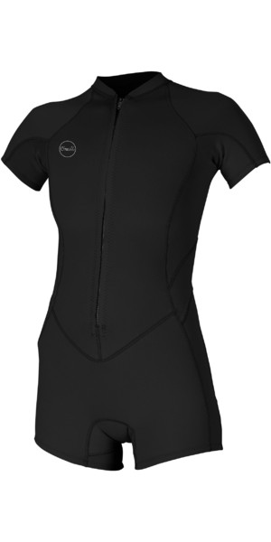 2019 O'Neill Womens Bahia 2/1mm Front Zip Shorty Wetsuit Black 5293