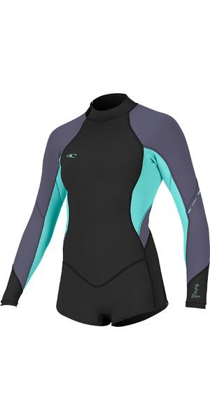 2019 O'Neill Womens Bahia 2/1mm Long Sleeve Short Leg Back Zip Shorty Wetsuit Glide Black / Seaglass 4859