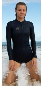 2020 O'Neill Womens Bahia 2/1mm Front Zip Long Sleeve Shorty Wetsuit 5363 - Glide Black