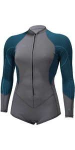 2021 O'Neill Womens Blueprint 2/1mm Front Zip Long Sleeve Shorty Wetsuit 5447 - Graphite / Blue Haze