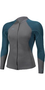 2021 O'Neill Womens Blueprint 2/1mm Front Zip Wetsuit Jacket 5448 - Graphite / Blue Haze