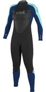 2021 O'Neill Womens Epic 4/3mm Back Zip GBS Wetsuit 4214 - Black / Navy / Seaglass