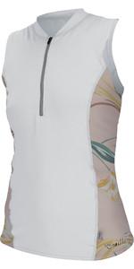2019 O'neill Damen Front Zip Cap Sleeve Sun Shirt Weiß / Calris 5307s