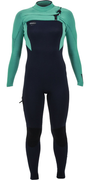 2019 O'Neill Womens Hyperfreak 4 / 3mm Peito Zip Wetsuit Abyss / Seaglass 5322