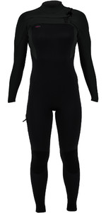 2019 O'Nill Dames Hyperfreak 4/3mm Wetsuit Met Chest Zip Zwart 5322