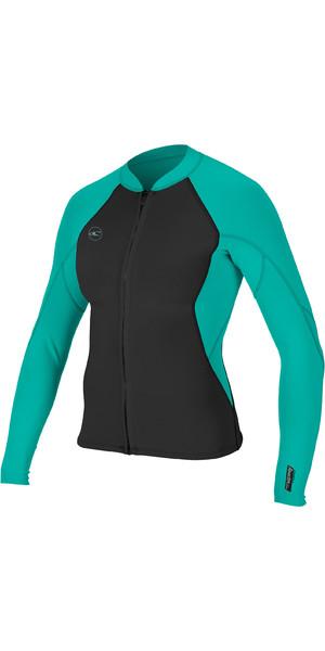 2019 O'Neill Womens Reactor II 1.5mm Front Zip Neoprene Jacket Black / Aqua 5294
