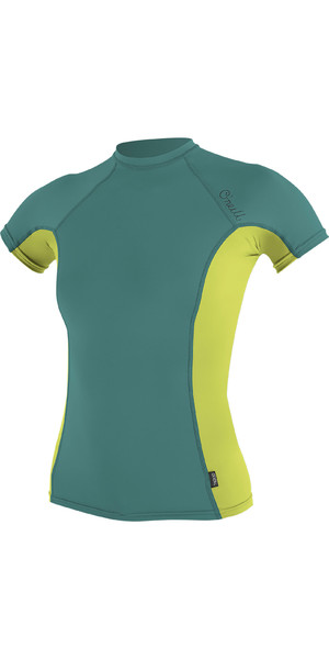 2019 O'Neill Womens Side Print Short Sleeve Rash Vest Euca / Lime 5309S