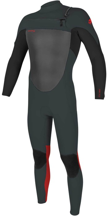 2021 O'Neill Youth Epic 4/3mm Chest Zip GBS Wetsuit 5358 - Gunmetal / Black / Red
