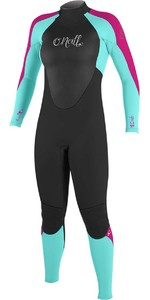 2020 O'Neill Youth Girls Epic 4/3mm Back Zip GBS Wetsuit 4216G - Black / Baylen