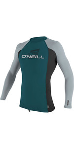 2019 O'Neill Youth Premium Skins Long Sleeve Rash Vest Teal / Black 4174