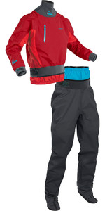 2020 Palm Mens Atom Whitewater Kajak Jacke & Hose Combi Set - Chilli Flame / Jet Grey