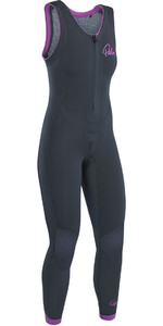 2019 Palm Blaze Womens 3mm GBS Cremallera frontal Long John Wetsuit Jet Gray 12231