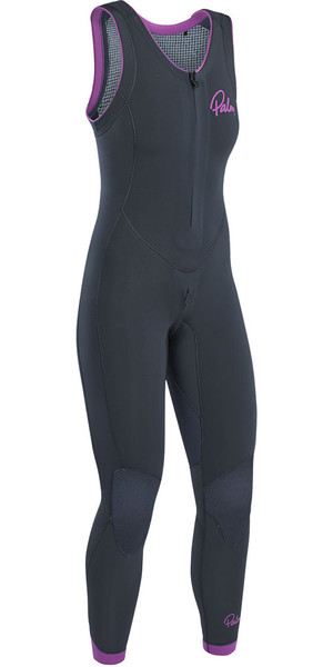 2019 Palm Blaze Womens 3 mm GBS Front Zip Long John Wetsuit Jet Grey 12231
