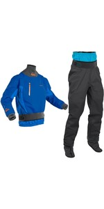 2020 Palm Mens Atom Whitewater Kayak Jacket & Trouser Combi Set - Cobalt / Jet Grey
