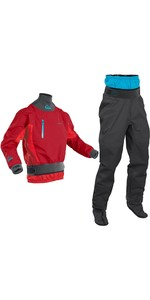 2020 Palm Mens Atom Whitewater Kayak Jacket & Trouser Combi Set - Chilli Flame / Jet Grey