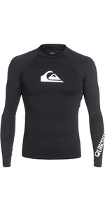 2018 Quiksilver All Time Long Sleeve Rash Vest BLACK EQYWR03034