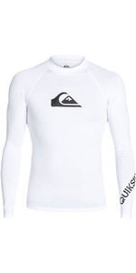 2018 Quiksilver All Time Long Sleeve Rash Vest WHITE EQYWR03034