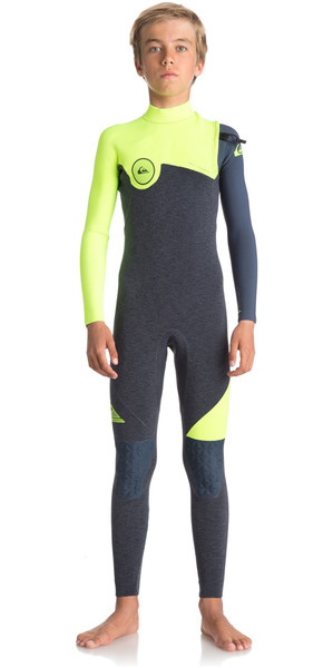 2018 Quiksilver Boys série Highline 4 / 3mm combinaison sans glissière HEATHER SLATE / SAFETY JAUNE EQBW103033