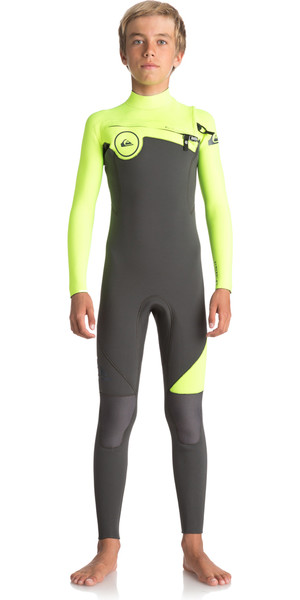 2018 Quiksilver Boys Syncro Series 4 / 3mm Chest Zip con zip JET BLACK / SAFETY YELLOW EQBW103021