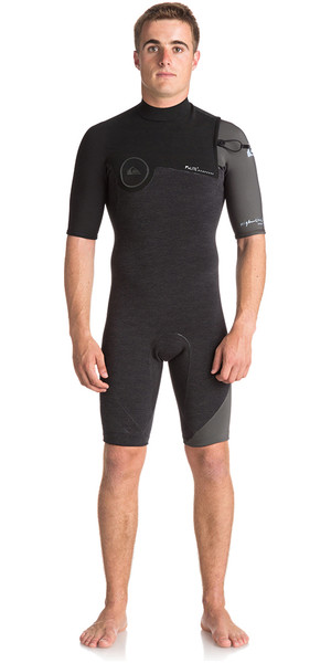 2018 Quiksilver Highline Series 2mm lynlås Shorty Wetsuit JET BLACK EQYW503007