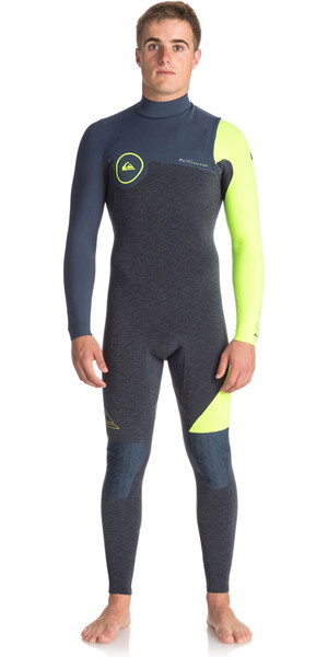 2018 Quiksilver Highline Serie 4 / 3mm Zipperless Neoprenanzug SCHIEFER / PEWTER / SICHERHEIT GELB EQYW103051