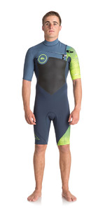 Quiksilver Highline Mais 2mm Chest Zip Shorty Wetsuit Ardósia / Estanho / Segurança Amarelo Eqyw503005