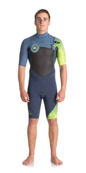 2018 Quiksilver Highline Plus 2mm Bryst Zip Shorty Wetsuit SLATE / PEWTER / SIKKERHED YELLOW EQYW503005