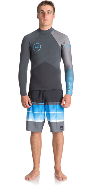2018 Quiksilver Highline Plus 2mm Long Sleeve GBS Neoprene Jacket GUNMETAL / ROYAL BLUE EQYW803009