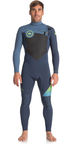 2018 Quiksilver Highline + 4 / 3mm Chest Zip Hydrolock Wetsuit SLATE / PEWTER EQYW103047