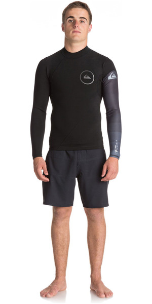 2018 Quiksilver Syncro New Wave 1mm manica lunga in neoprene Top JET NERO EQYW803007