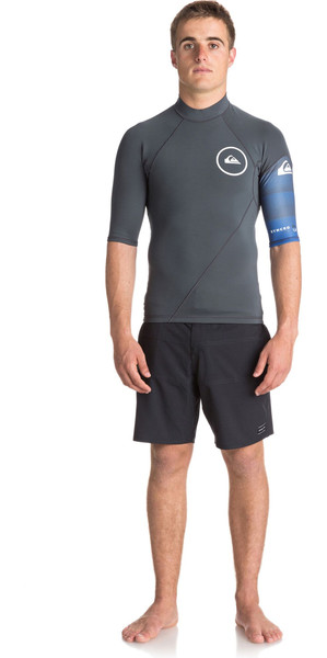 2018 Quiksilver Syncro New Wave 1mm manica corta in neoprene Top GUNMETAL / ROYAL BLUE EQYW903003