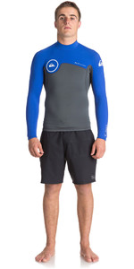 Quiksilver Syncro Series 1.5mm Quarter Back Zip Neoprene Top GUNMETAL / ROYAL BLUE EQYW803011