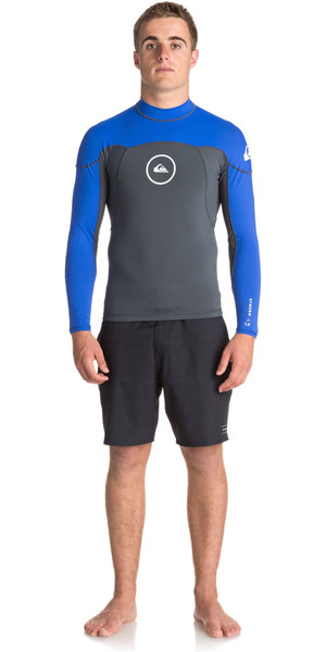 2018 Quiksilver Syncro Series 1mm Long Sleeve Neoprene Top GUNMETAL / ROYAL BLUE EQYW803008