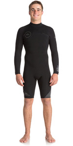 2018 Quiksilver Syncro Series 2mm Long Sleeve Back Zip Shorty Wetsuit JET BLACK EQYW403005