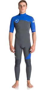 Series Syncro Quiksilver 2mm Manga Curta De Back Zip Wetsuit Gunmetal / Royal Blue Eqyw303005