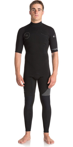 2018 Quiksilver Syncro Series 2mm Short Sleeve Back Zip Wetsuit JET BLACK EQYW303005