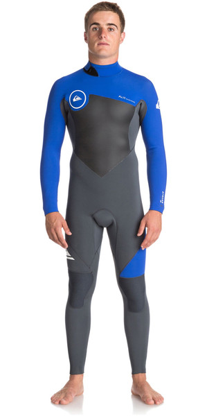2018 Quiksilver Syncro Series 4 / 3mm Cremallera trasera GBS Wetsuit GUNMETAL / ROYAL BLUE EQYW103041