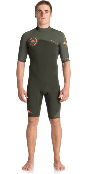 2018 Quiksilver Syncro série 2mm Back Zip Shorty Wetsuit DARK IVY EQYW503006